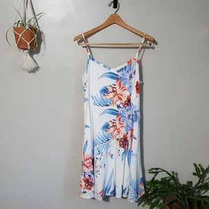 old navy white tropical floral fit and flare dress